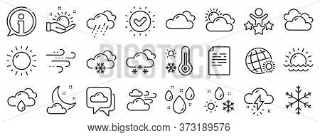 Cloudy Sky, Winter Snowflake, Thermometer. Weather And Forecast Line Icons. Moon Night, Rain And Sun