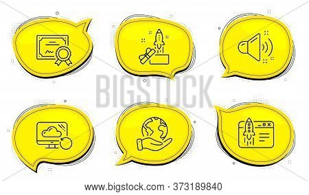 Loud Sound Sign. Diploma Certificate, Save Planet Chat Bubbles. Start Business, Innovation And Recov