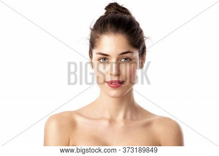 Headshot Of Beautiful Woman's Face With Red Lipstick