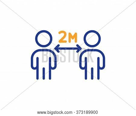 Social Distancing Line Icon. 2 Meters Distance Between Sign. Coronavirus Pandemic Symbol. Colorful T