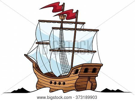 Mascot Or Logo With A Galleon Sailing Ship Isolated On White Background.