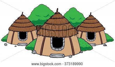 Mascot Or Logo With Adobe Hut Village.