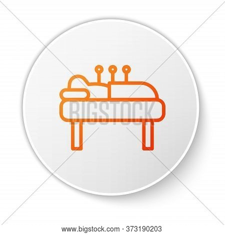 Orange Line Acupuncture Therapy Icon Isolated On White Background. Chinese Medicine. Holistic Pain M