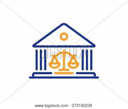 Court Building Line Icon. Justice Scale Sign. Judgement Law Symbol. Colorful Thin Line Outline Conce