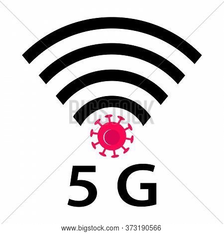 Wifi Signals And Covid-19 Conspiracy. Vector Icon Design Of Coronavirus 5g Zone Concept On White Bac