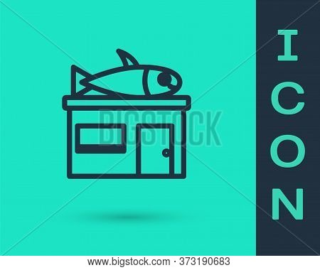Black Line Seafood Store Icon Isolated On Green Background. Facade Of Seafood Market. Vector.