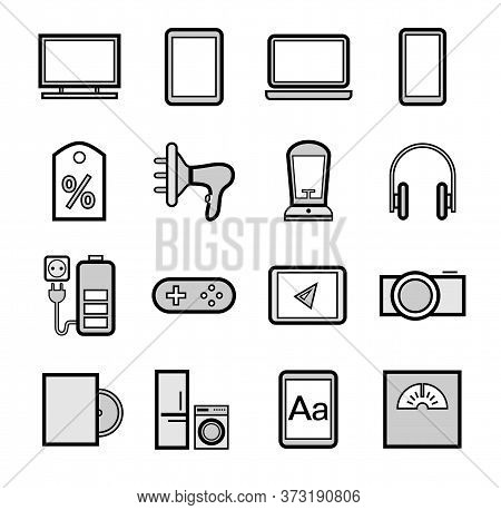 Gadgets And Devices, Icons, Set, Gray. Electronics And Home Appliances. Gray Images With A Black Out