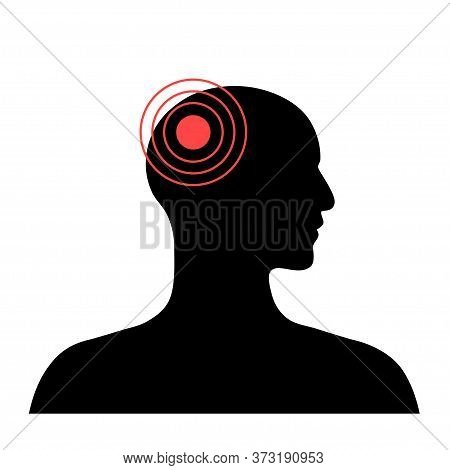 Flat Vector Isolated Illustration Of Pain, Inflammation Or Tumor In Human Adult Anatomy In Male Silh
