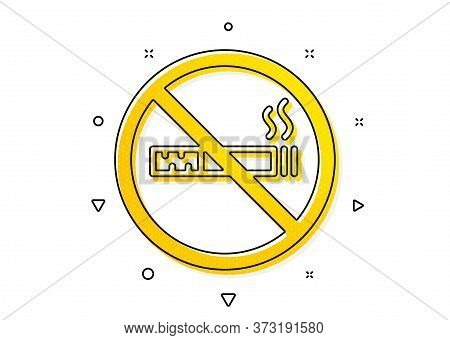 Stop Smoke Sign. No Smoking Icon. Hotel Service Symbol. Yellow Circles Pattern. Classic No Smoking I