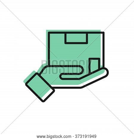 Black Line Delivery Insurance Icon Isolated On White Background. Insured Cardboard Boxes Beyond The