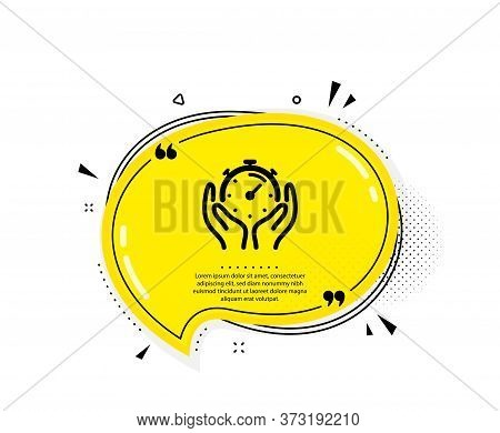 Timer Icon. Quote Speech Bubble. Time Management Sign. Stopwatch Symbol. Quotation Marks. Classic Ti