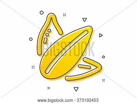 Tasty Seeds Sign. Sunflower Seed Icon. Vegan Food Symbol. Yellow Circles Pattern. Classic Sunflower