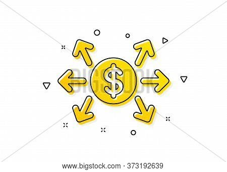Payment Sign. Dollar Exchange Icon. Finance Symbol. Yellow Circles Pattern. Classic Dollar Exchange