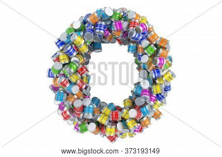 Letter O From Colored Paint Cans, 3d Rendering Isolated On White Background