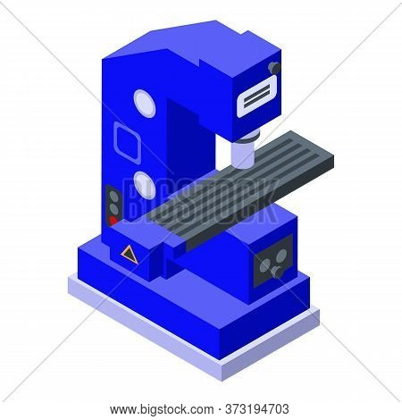 Cnc Milling Machine Icon. Isometric Of Cnc Milling Machine Vector Icon For Web Design Isolated On Wh