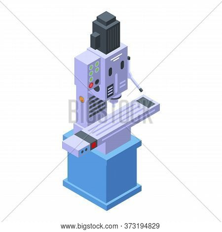 Industrial Milling Machine Icon. Isometric Of Industrial Milling Machine Vector Icon For Web Design