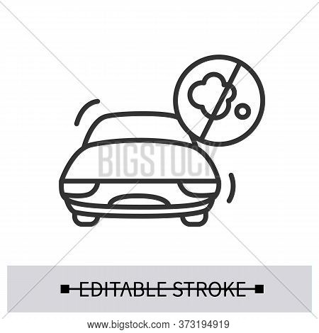 Zero Emission Icon. Electric Vehicle With No Emission Linear Pictogram. Concept Of Ecology Saving Lo