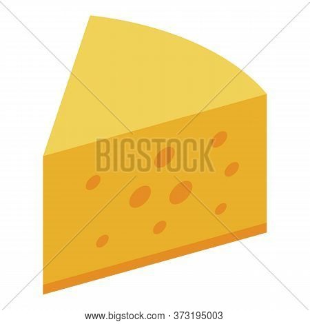 Cheese Piece Icon. Isometric Of Cheese Piece Vector Icon For Web Design Isolated On White Background