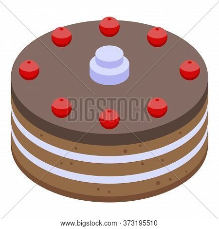 Cherry Chocolate Cake Icon. Isometric Of Cherry Chocolate Cake Vector Icon For Web Design Isolated O