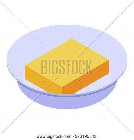 Piece Of Yellow Cake Icon. Isometric Of Piece Of Yellow Cake Vector Icon For Web Design Isolated On