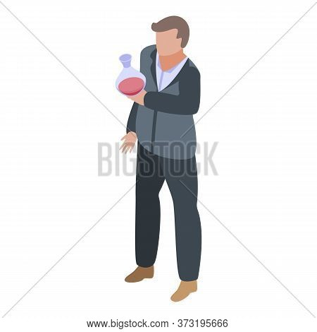 Red Wine Flask Sommelier Icon. Isometric Of Red Wine Flask Sommelier Vector Icon For Web Design Isol