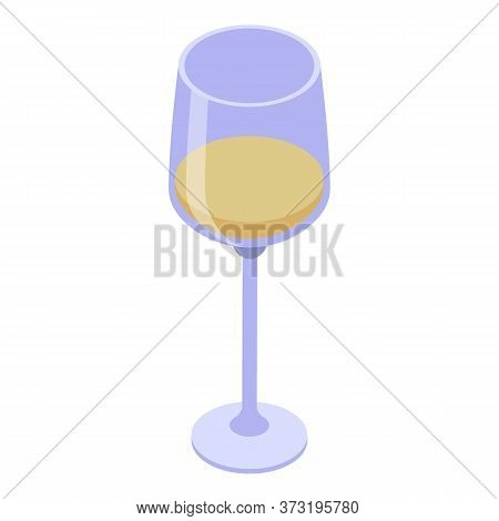 Half White Wine Glass Icon. Isometric Of Half White Wine Glass Vector Icon For Web Design Isolated O