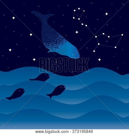 Night Sea With Waves And Fish, Starry Sky And Whale. Whale Constellation.