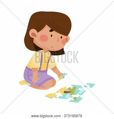 Little Girl Sitting And Putting Together Jigsaw Puzzle Vector Illustration