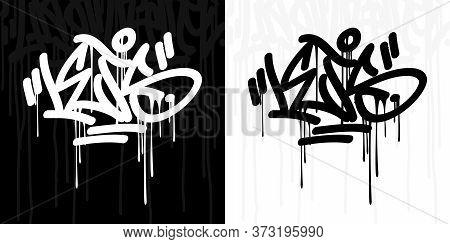 Word Lets Abstract Hip Hop Hand Written Graffiti Style Vector Illustration Art