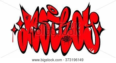 Abstract Word Destroy Graffiti Style Font Lettering Vector Illustration Art