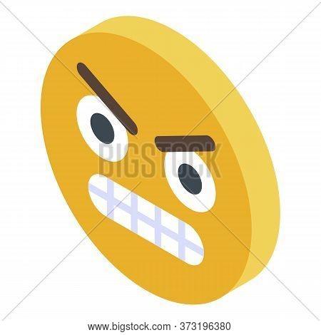 Yellow Emoji Rage Icon. Isometric Of Yellow Emoji Rage Vector Icon For Web Design Isolated On White