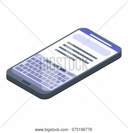 Smartphone Keyboard Icon. Isometric Of Smartphone Keyboard Vector Icon For Web Design Isolated On Wh