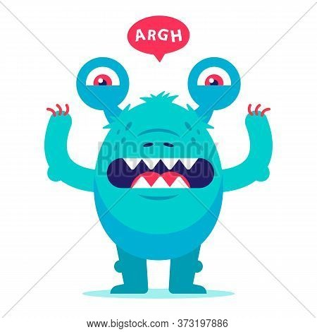 Toothy Monster From Childhood Nightmares. An Ugly Creature Growls And Scares. Flat Character Vector