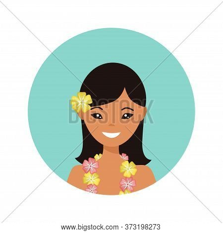 User Icon Of Hawaiian Young Woman In Flat Style