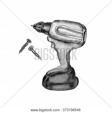 Watercolor Illustration Of A Black And White Image Of The Repair Tools.screwdrivers, Screwdrivers An