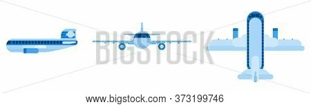 Flat Blue Passenger Plane. Different Angles. Flat Style Vector