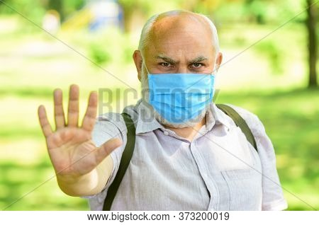 Pandemic Concept. Limit Risk Infection Spreading. Senior Man Face Mask. Mask Protecting From Virus.
