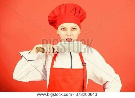 Chef Cut Vegetables. Woman Chef Hold Sharp Knife. Ways To Chop Food Like Pro. Knife Skills Concept.