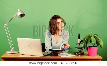 Girl Pretty Attractive Student With Laptop. Modern Student Girl. Education Concept. Student Life. Hi