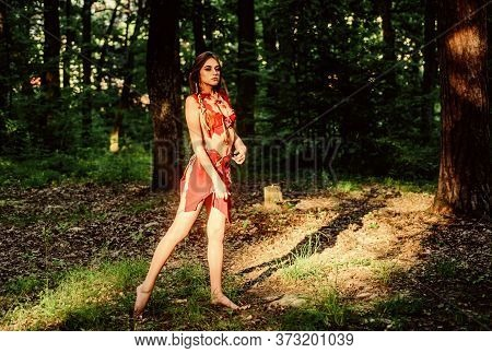 Female Spirit Mythology. Forest Fairy. Living Wild Life Untouched Nature. Wild Woman In Forest. Sexy