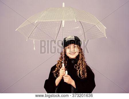 Fall Season. Kids Fashion Trend. Love Rainy Days. Kid Girl Happy Hold Transparent Umbrella. Enjoy Ra