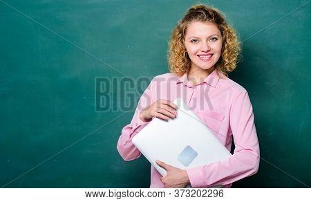 School Lecturer Explaining Topic. Back To School. Teaching Informatics. School Education Concept. Wo