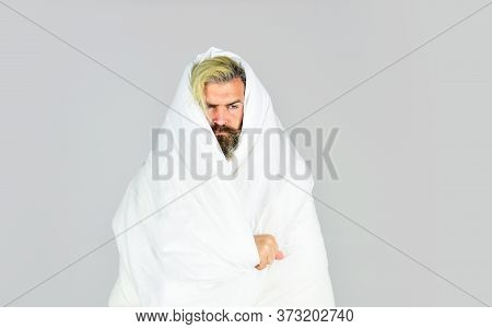 Bearded Man Sleeping Face Relaxing. Man Handsome Guy With Pillow And Duvet. Enough Amount Sleep. Fal