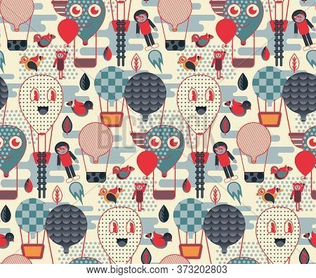 Quirky Air Balloon Travel Pattern Geometric Style Design For Children