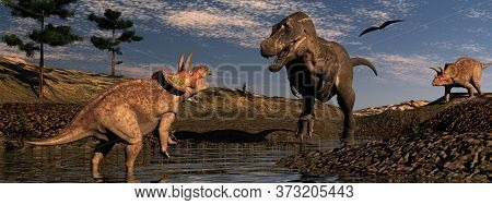 Dinosaur Scenery With Tyrannosaurus And Triceratops By Sunset - 3d Render