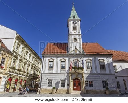 Famous City Hall At King Tomislav Square In Varazdin By Beautiful Day, Croatia