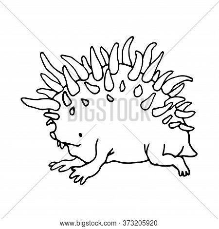 Cute Horned Hedgehog, Fictional Funny Monster Alien, Spiky Mutant, Vector Illustration With Black In