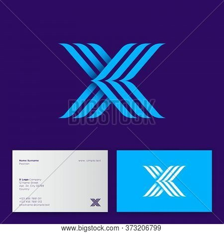 X letter consist of three blue strips. X monogram like meeting arrows. Web, UI icon. Identity. Business card.