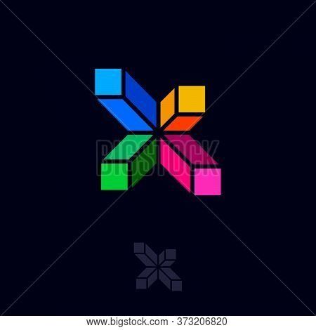X Letter. X Monogram. Building Or Construction Logo. Emblem Of A Construction Company. Crossed Build