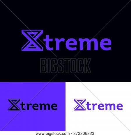 Extreme Logo. X Monogram.  X Letter Like Impossible Figure. Monochrome Option.